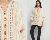 Embroidered Tunic Top Mexican Blouse COTTON Shirt Ethnic 70s Hippie Tribal Dashiki Boho Wide Sleeve AZTEC Bohemian Cream Extra Large Xl