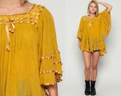 Boho Blouse Crochet Top ANGEL SLEEVE Shirt Semi-Sheer Cotton Gauze Tunic Mustard Yellow Lace 70s Hippie Festival Bohemian Small Medium Large