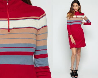 Striped Dress Mod 60s Mini Turtleneck Front Zip Gogo Red Vintage 70s Shift Twiggy 1970s Long Sleeve High Collar Minidress Tan Blue Small xs