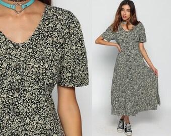 Floral Dress 90s Grunge Midi Button Up Bohemian Black 80s Short Sleeve Empire Waist Rayon 1990s Beige Small Medium