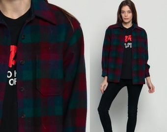 Wool Plaid Shirt 70s Flannel Red Blue Green Plaid 1970s Lumberjack Button Up Long Sleeve Oversize Vintage Men Tartan Extra Small Xs