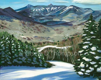 View from Loon Mountain, NH, Framed Original Painting, Acrylic on Canvas 16x20