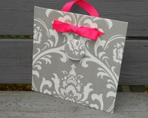 "Magnetic Board  - Grey Damask Fabric Magnet Memory Board - (10"" x 10"")"