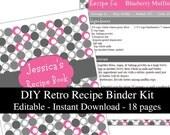 Pink & Gray Retro printable recipe binder kit editable planner instant download recipe book DIY recipe organizer PDF