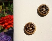 3 Yellow Wood Tree Buttons- Oregon Osage Orange Wood- Wooden Buttons- Eco Craft Supplies, Eco Knitting Supplies, Eco Sewing Supplies