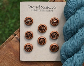 8 Wood Flower Buttons- Oregon Madrone Wood- Wooden Buttons- Eco Craft Supplies, Eco Knitting Supplies, Eco Sewing Supplies