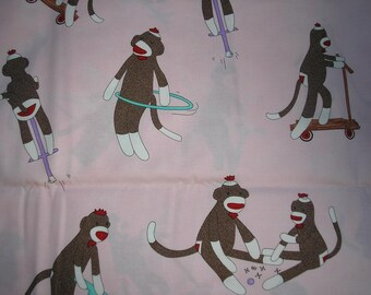 Sale~Pink  PLAYFUL Sock Monkey Fabric   1 yard piece
