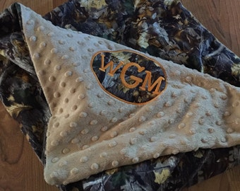 Minky and Realtree Flannel Baby Blanket with Free Monogram