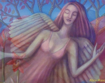 Angel with Lilies, Large Giclee Print.