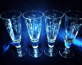 Four Noritake Sakai Footed Beer Glasses