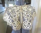 Antique 1800s Large Point De Colbert Lace Shawl Collar Magnificent