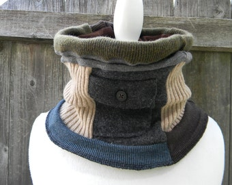 Upcycled Wool Unisex Neck Warmer Cowl Neck Shawl Scarf Scarflette Neutral Colors  Reversible One Size Fits All