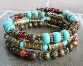 Memory Wire Bracelet - Blue Green Teal Turquoise, Baltic Amber, Brown Jasper, Antique Brass, Boho Gypsy Bangle