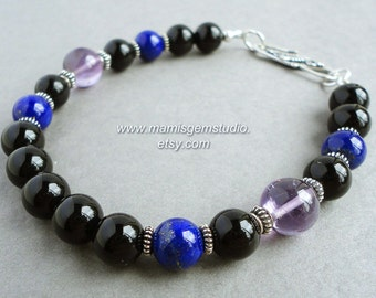 Mens Bracelet, Black Onyx, Blue Lapis Lazuli, Amethyst, Bali Sterling Silver, Handmade Mens Jewelry