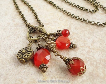 Carnelian Long Necklace 28 inches, Antiqued Brass Rollo Chain, Orange Red, Handmade Jewelry by Mami's Gem Studio
