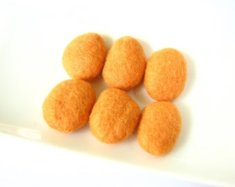 6 flat orange felted wool pebbles /beads. Perfect for room decoration, wall hanging felt ornament, garlands, felt decorations, wool jewelry