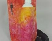 Massage Therapy single bottle RIGHT hip holster, pen pocket, sunburst tie dye print, black belt