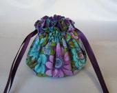 Jewelry Bag - Medium Size - Fabric Jewelry Pouch - Drawstring Travel Tote - PURPLE FLIRT