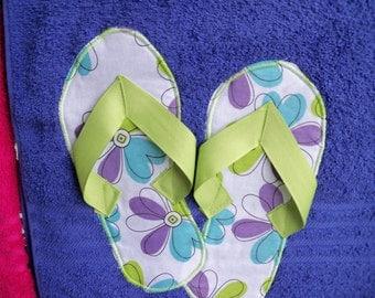 Purple Flower Flip Flop Towel