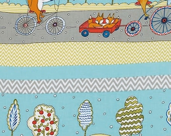 SALE Fox Playground Transport  Dena Designs  PWDF187 AQUA 1 Yard Cut