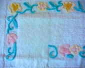 Tonal Aqua, Yellow and Pink Floral Vintage Chenille Fabric 19 x 21.5 Inches