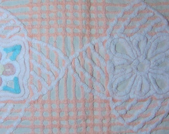 Peach and Light Pink Floral Vintage Chenille Fabric 13 x 26 Inches