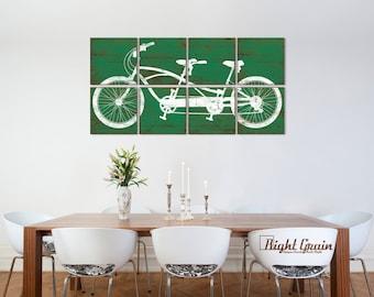 Large Tandem Bicycle Artwork - Vintage Bike Print - Custom Made Rustic Decor 24x48