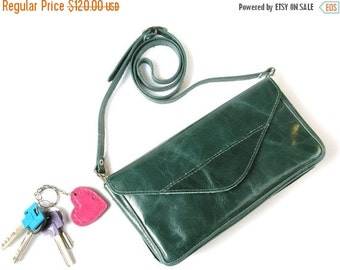 FLASH SALE 25% OFF No Strap Available Women's Leather Clutch - Leather Bag - Leather Envelope - in Emerald Green - Chic Night Out