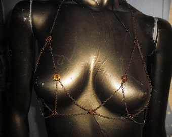 Steampunk copper colored ring and chain maille top