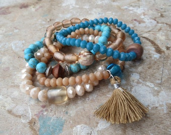 RESERVED Stretch Bracelets with Turquoise, Crystals, Wood, Glass, Agate and Tassel (Set of 5)