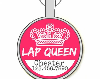 Lap Queen Personalized Dog ID Pet Tag Custom Pet Tag You Choose Tag Size & Colors