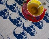 Regency Skull Navy on Natural Linen Tea Towel