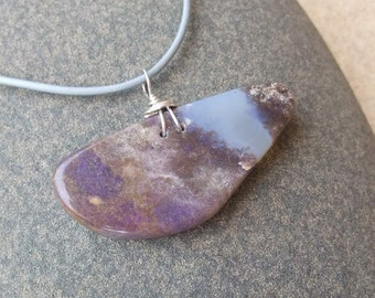 Purple Opal pendant necklace - unique natural jewelry handmade in Australia - asymmetrical stone pendant