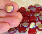 60 RED Heart Glass Beads BULK Beads Matte Iridescent 10mm to 12mm Vintage Jewelry Supplies Handmade Indian One Side Matte One Side AB