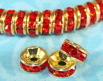 Red Rhinestone Spacer 7mm Beads GOLD Disc 30 Pcs (47154) 8mm Red Crystals Rondelle Bulk Jewelry Supplies Findings for Earrings Bracelets