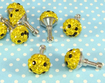 Smile Face Dust Plug Rhinestone Smiley Cell Phone Charm Yellow Black Crystals Jewelry Supplies MP3 Mother Sister Best Friend Gift Idea