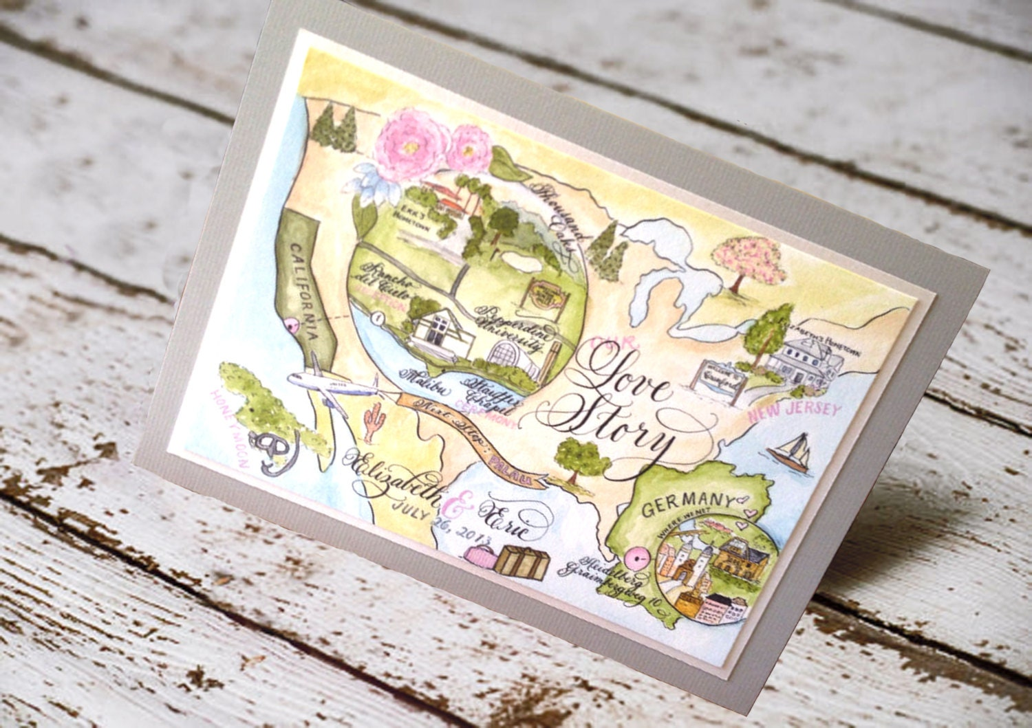 Painted Wedding Invitations: Map Wedding Invitation Love No. 7 Combe Magna
