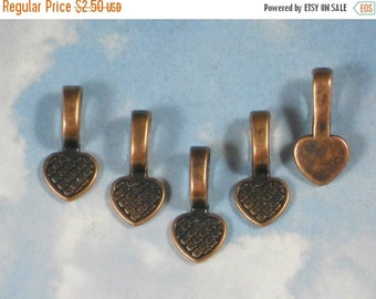 SALE 10 Heart Glue On Bails Copper Large 21mm Hangers 10mm Flat Pads Create A Necklace Pendant (P1231 -10)