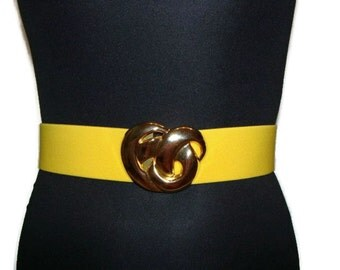 Vintage Gold Buckle Yellow Stretch Belt Yellow Belts For Women Elasticated Ladies Belts Ladies Stretch Belts Yellow Belt Womens