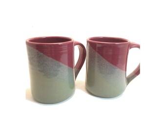 Set of 2 Handmade ceramic mugs- Slate gray / Raspberry combination