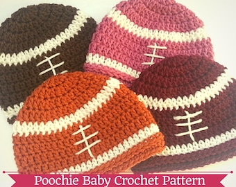 Crochet PATTERN - Football Beanie Hat for Babies