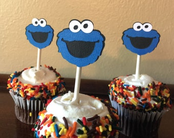 Cookie Monster Cupcake Toppers, Cookie Monster 1st Birthday, Cookie Monster Party, Cookie Monster Baby Shower, Sesame Street, Set of 12