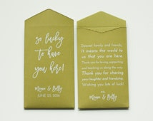 Custom Olive Lottery Ticket Wedding Favor Packet Envelopes - Many Colors Available