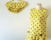 Vintage Playset 1960s Lemon Yellow Polka Dot