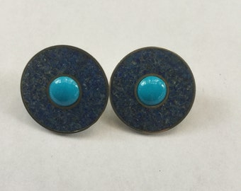 Vintage Signed Modernist Sterling Turquoise & Stone Earrings
