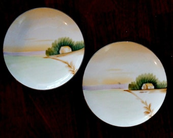 Vintage Plates Japanese Hand Painted House Scene Meito China Orange Purple Green Brown Set of Two