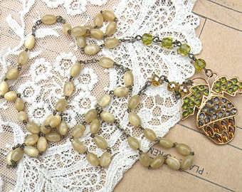 winter acorn rosary necklace assemblage mother of pearl tan cream woodland forest