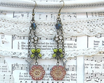 earrings assemblage summer czech picasso flower floral key charm cottage chic romance recycled vintage jewelry
