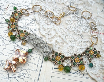 necklace assemblage upcycle floral golden rhinestone pendant