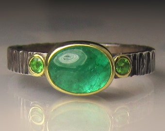 Emerald Ring, Emerald and Tsavorite Garnet Ring, Sterling Silver and 18k Gold